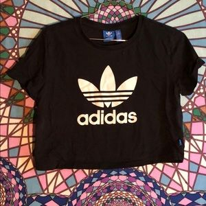Black Adidas cropped logo shirt